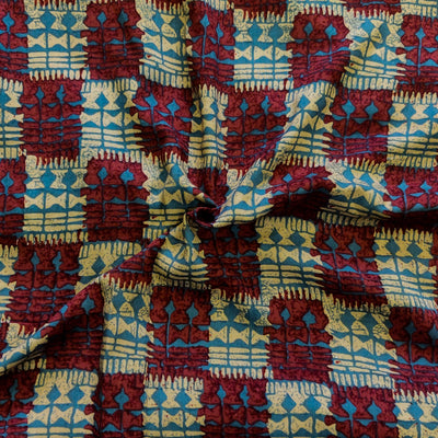 Rayon Cotton With Maroon And Cream Checks And Blue Fence Screen Print Fabric