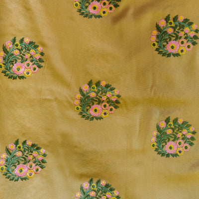 Rayon Fabric Chicku Color With Floral Embroidered Motif