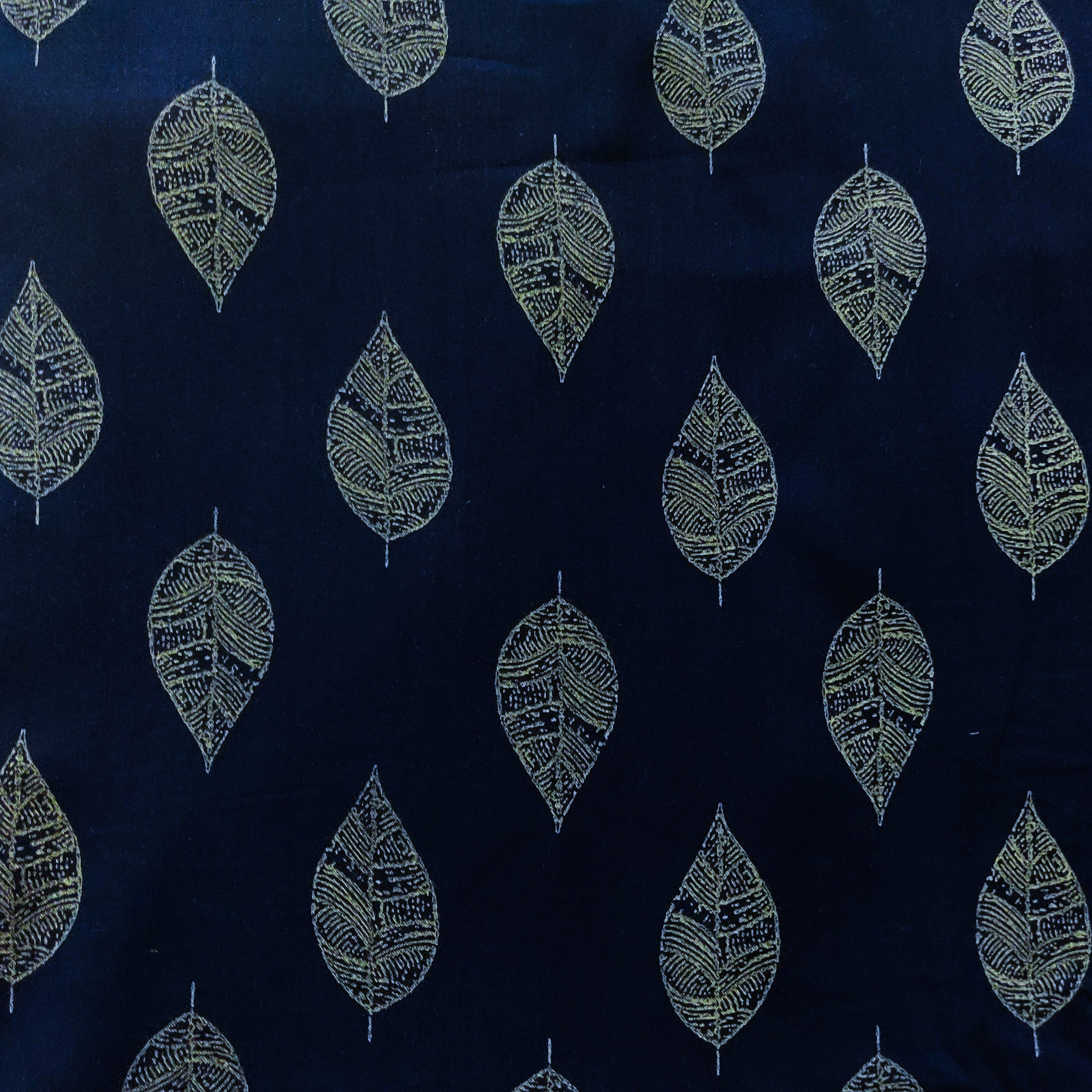 Rayon Navy Blue With Grey Leaves Screen Print Fabric