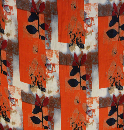 Rayon Orange Printed With Leafy Branch Motif Print Fabric
