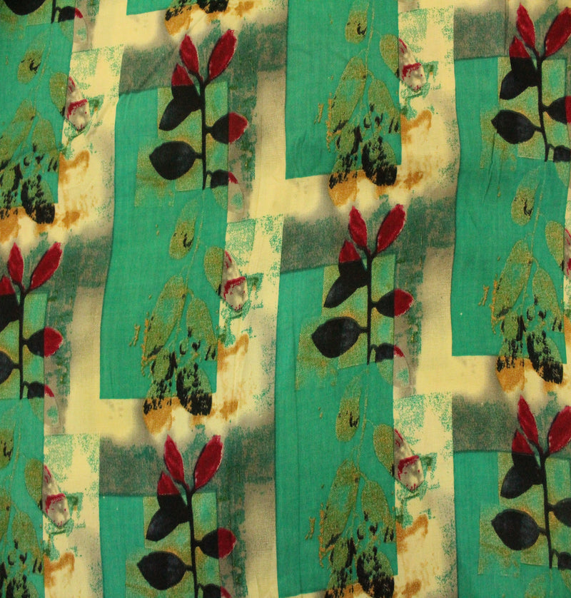 Rayon Sea Green Printed With Leafy Branch Motif Print Fabric