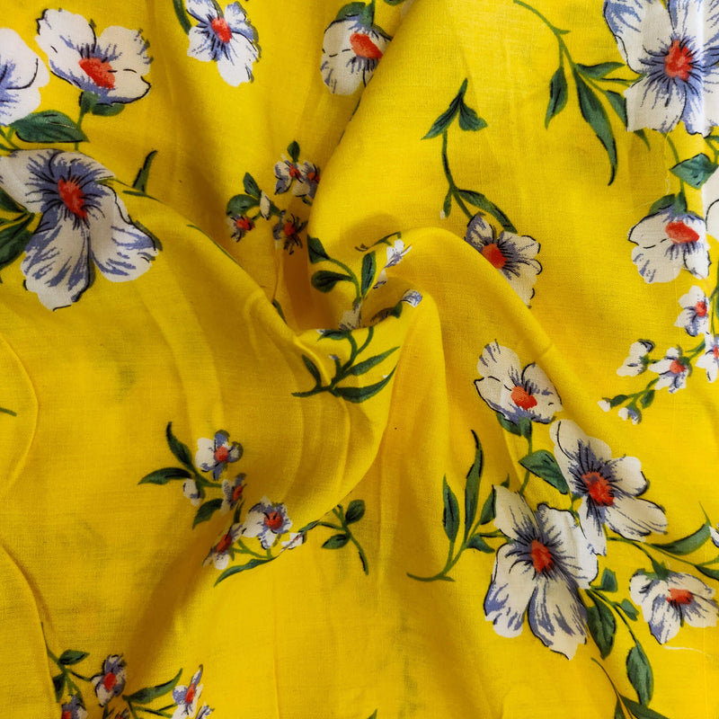 Rayon Yellow With Lillies Screen Print Fabric
