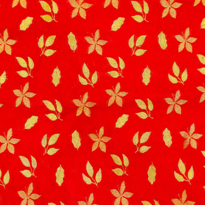 Red  Brocade Autumn Leaves Handwoven Fabric