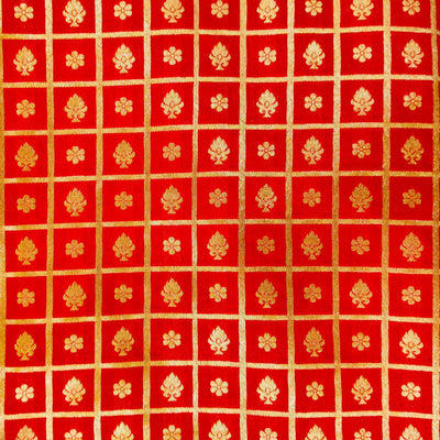 Red Brocade With Gold Woven Checks With Tiny Motifs Hand Woven Banarasi Fabric