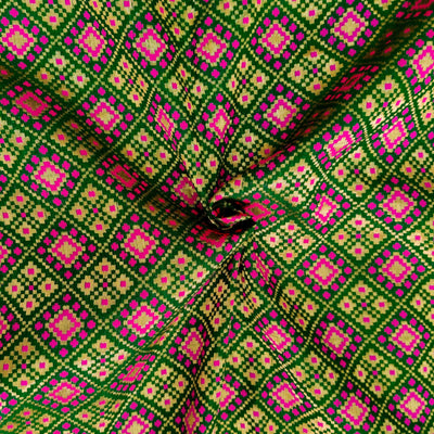 Royal Brocade Green With Pink Patola Woven Fabric