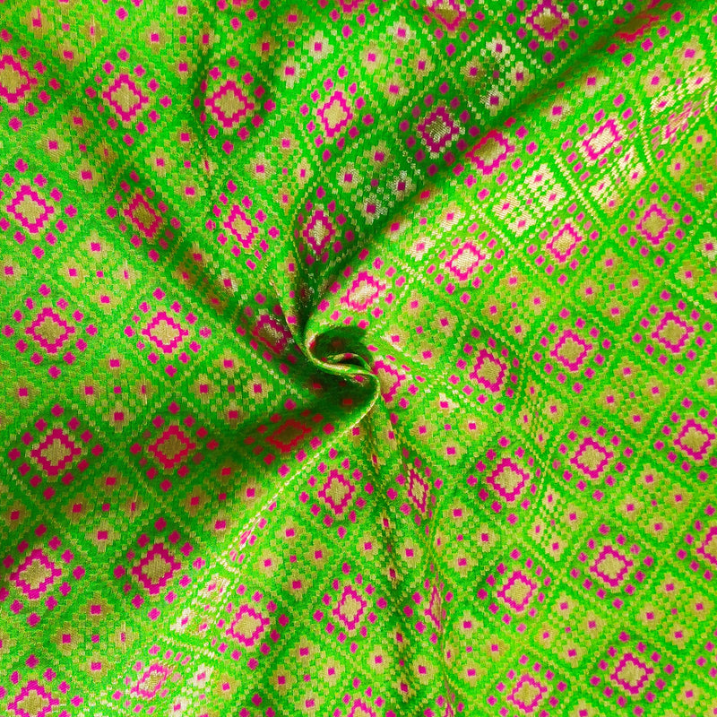 Royal Brocade Light Green With Pink Patola Woven Fabric