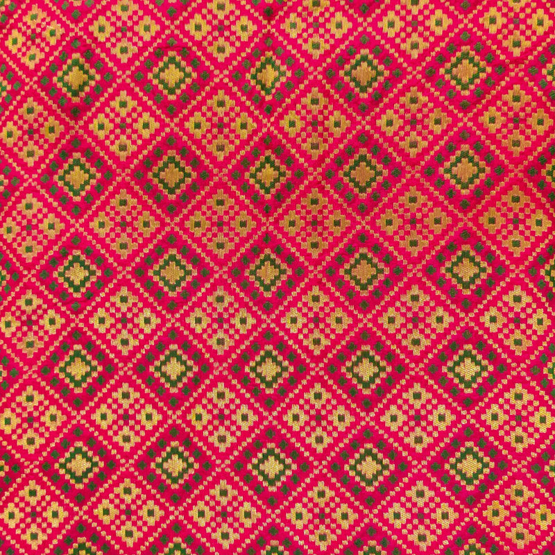 Royal Brocade Pink With Green Patola Woven Fabric