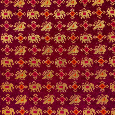 Royal Brocade Purple With Gold Patola Elephant And Bird Figures Woven Fabric