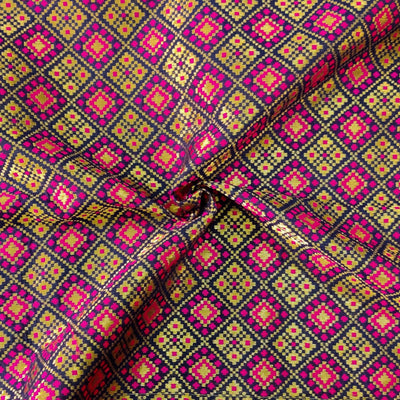 Royal Brocade With Pink Patola Woven Fabric