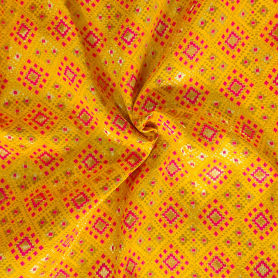 Royal Brocade Yellow With Pink Patola Woven Fabric
