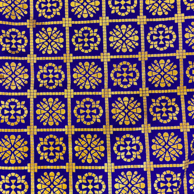 Royal Blue Brocade With Gold Checks And Flower Motifs Handwoven Banarasi Fabric