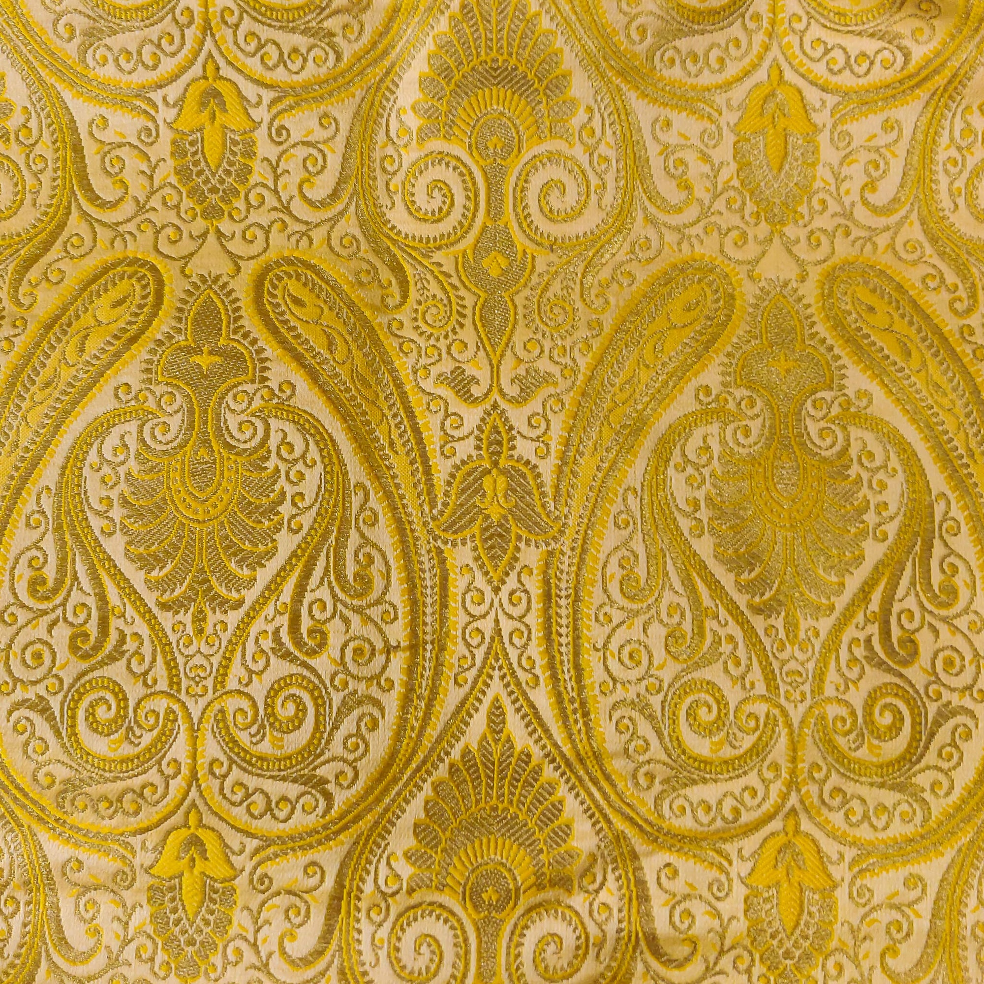 Royal Brocade Yellow Handwoven Fabric