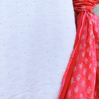 SHUBRA - Pure Cotton Summer White Chikankari Cutwork Top Piece With A Pink Peach Soft Kota Dupatta