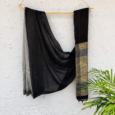 Sanskruti Aashima  Half And Half Black And Silver Linen Saree With Ghicha Pallu