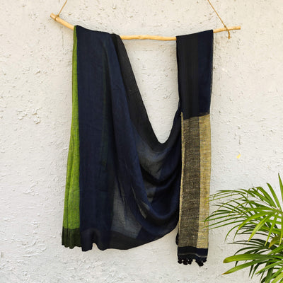 Sanskruti Aashima  Half And Half Green And Navy Linen Saree With Ghicha Pallu