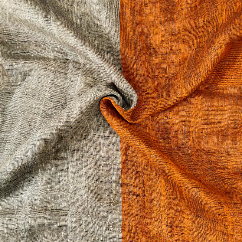 Sanskruti Aashima  Half And Half Orange And Beige Linen Saree With Ghicha Pallu