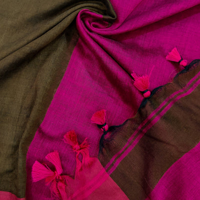 Sanskruti Kanya Saree Brown And Pink