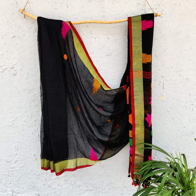 Sanskruti Morni Black Handloom Linen Saree