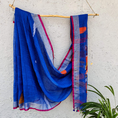 Sanskruti Morni Blue Handloom Linen Saree