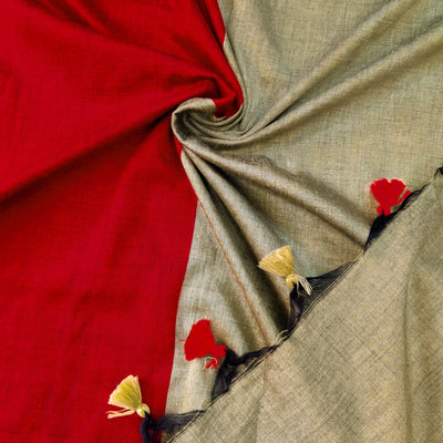 Sanskruti Piku Saree Beetroot With Bronze Gold Pallu