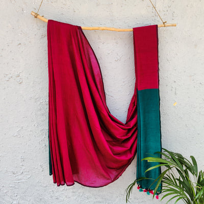 Sanskruti Piku Saree Magenta With Teal Pallu