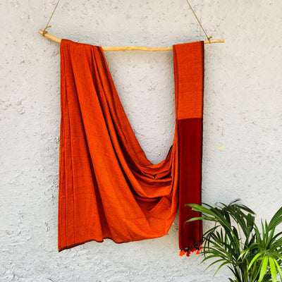 Sanskruti Piku Saree Orange With Maroon Pallu