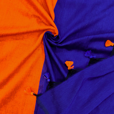 Sanskruti Piku Saree Orange With Royal Blue Pallu