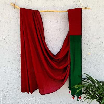 Sanskruti Piku Saree Red With Emerald Green Pallu