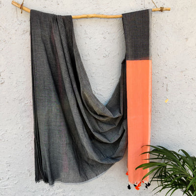 Sanskruti Piku Saree Storm Grey With Apricot Pallu