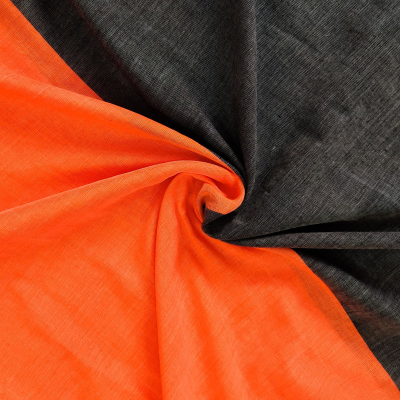 Sanskruti Piku Saree Storm Grey With Candy Orange Pallu