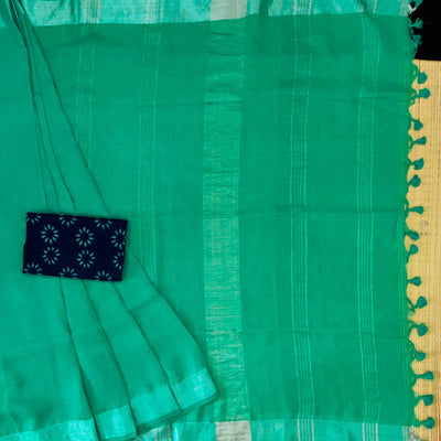 Sanskruti Sea Mist Linen Saree