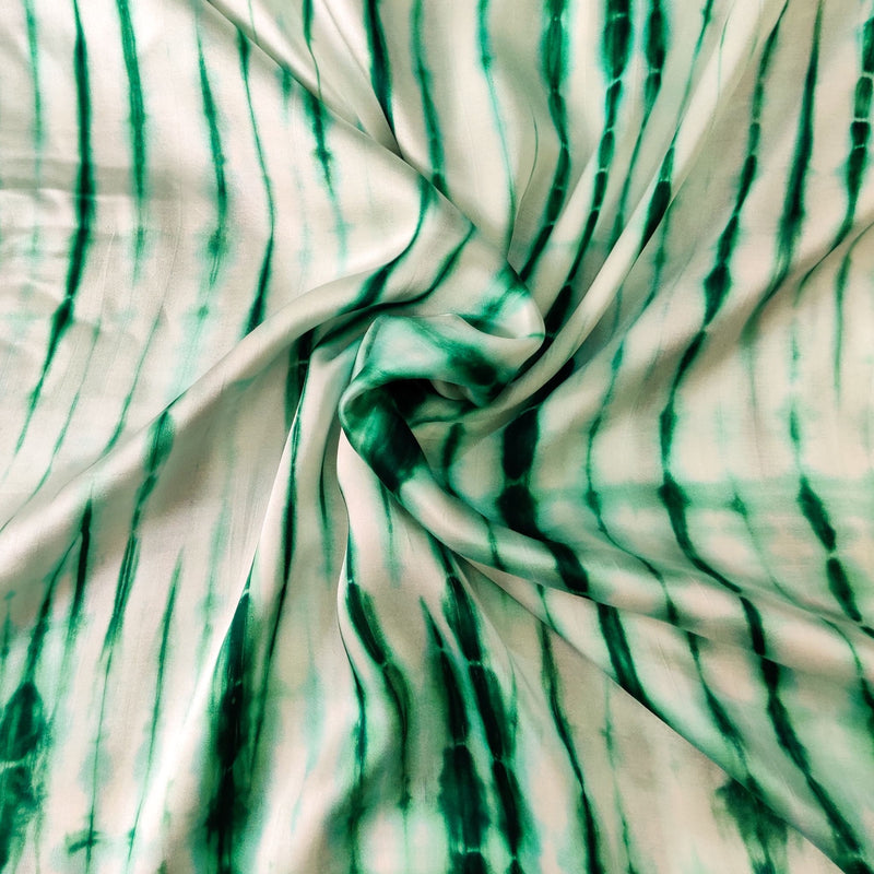 Satin Green Long Shibori Tie And Dye