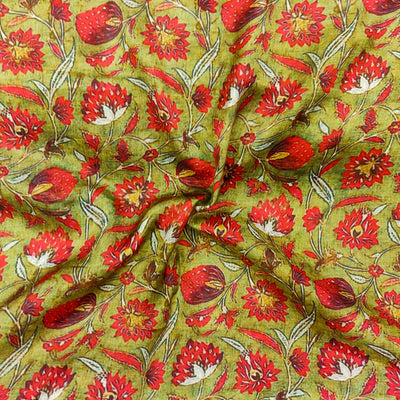 Satin Mehendi Green With Red Flower Jaal Screen Print Fabric