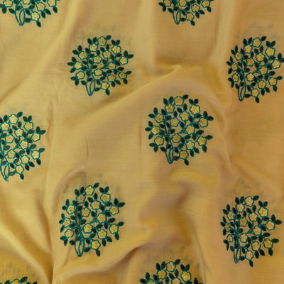Semi Muslin Chicku Color Soft Fabric With Gold Flowers Embroidered Motifs