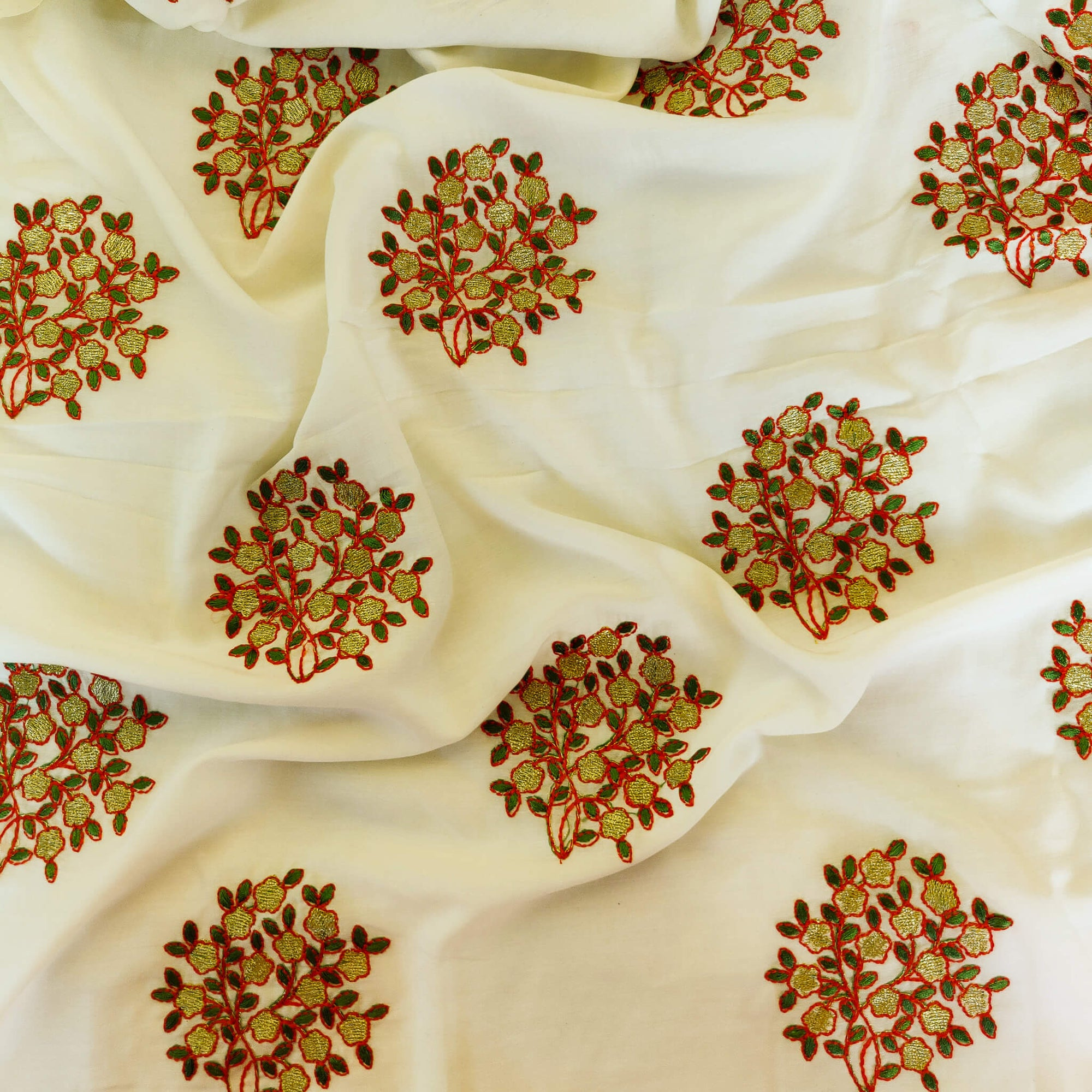 Semi Muslin Cream Soft Fabric With Gold Flowers Embroidered Motifs