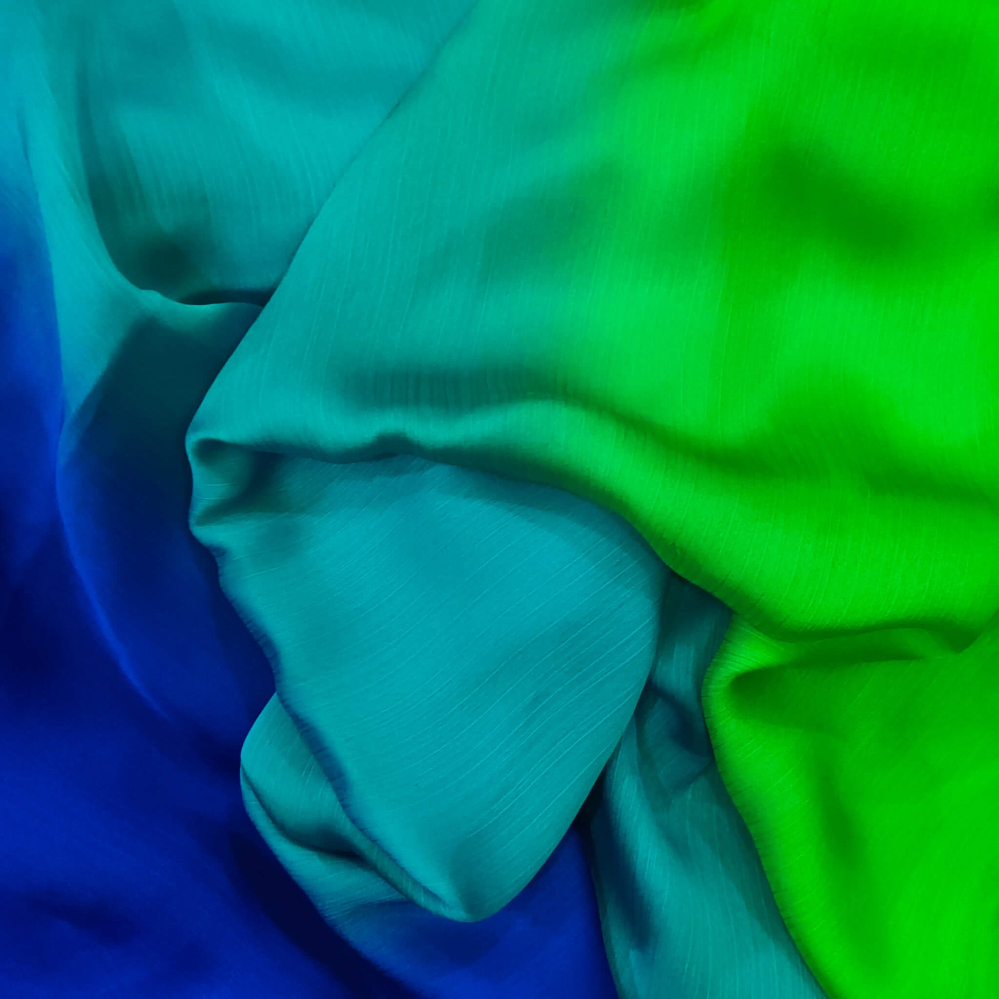 Shaded Blue Teal And Green Harmony Chiffon Flowing Fabric