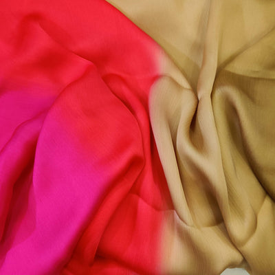 Shaded Pink Orangish Red And Beige Harmony Chiffon Flowing Fabric