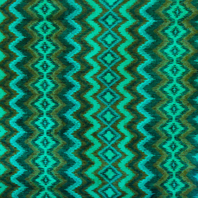 Silk Ikkat Light Sea Blue With Dark Sea Blue Ikkat Weaves Hand Woven Fabric