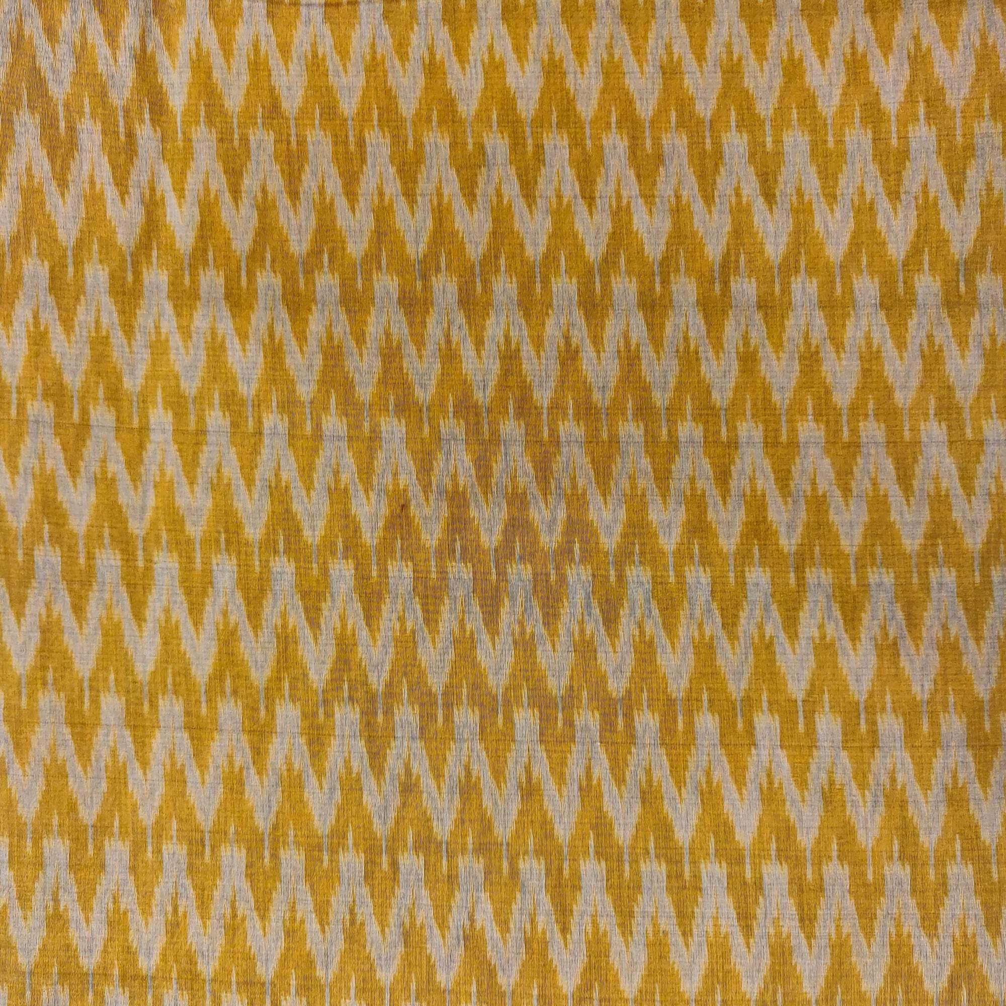 Silk Ikkat Mustard With Beige Small W Weaves
