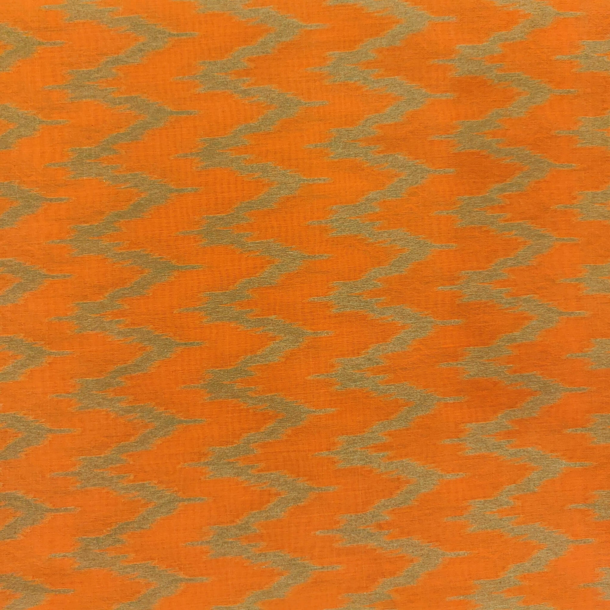 Silk Ikkat Orange With Beige W Weaves Woven Fabric