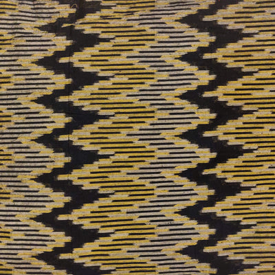 Silk Ikkat With Black Beige And Mustard Intricate Weaves Woven Fabric