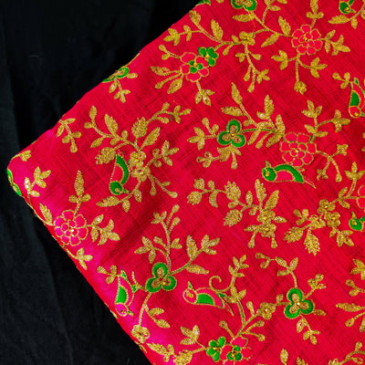 Slub Silk Pink With Parrot On Tree Jaal Embroiedered Fabric