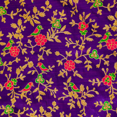 Slub Silk Purplish Blue With Parrot On Tree Jaal Embroiedered Fabric