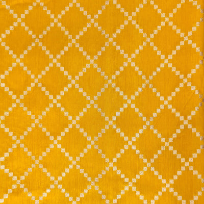 Soft Brocade Mustard With Zari Diagonal Checks Woven Fabric