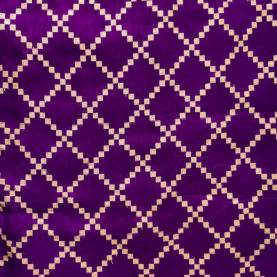 Soft Brocade Purplish Blue With Zari Diagonal Checks Woven Fabric