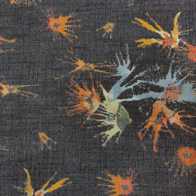 Textured Rayon Grey With Blue Orange Color Splash Screen Print Fabric