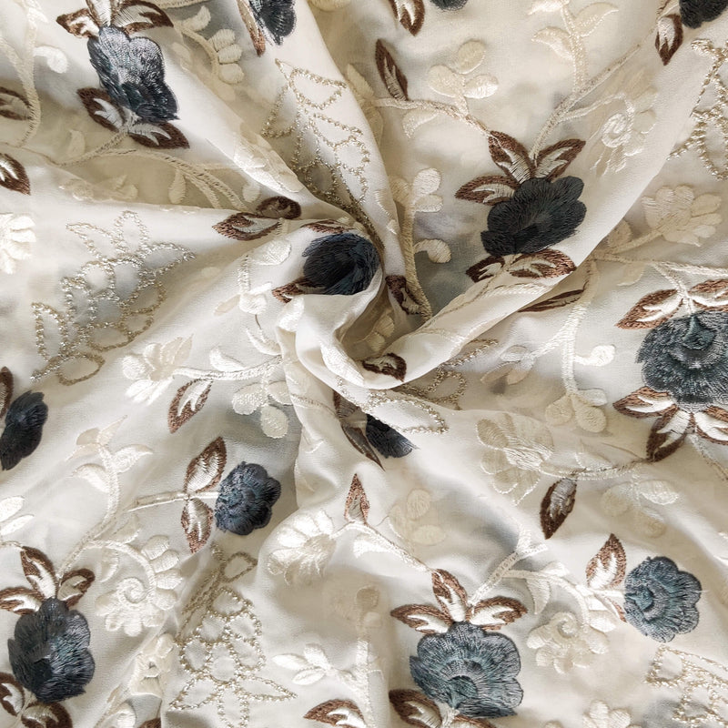 White Georgette Fabric With Grey Floral Jaal Embroidered Fabric