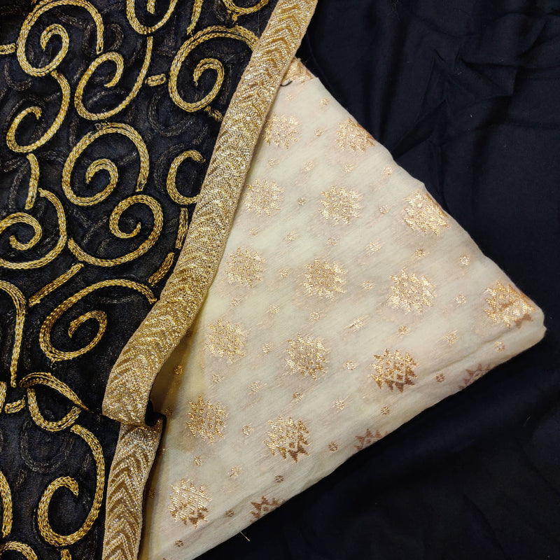 White Banarasi Brocade Top Fabric With Black Zari Work Dupatta Combo