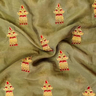 Yellowish Grey Chinon With Jhumka Motif  Embroidery Fabric