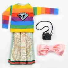 Severina Kids Tribute to Gucci Dolls Fashion Blogger New outfit clothes Diamond Sweatshirt and Bow Headband and map skirt with camera